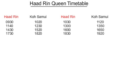 Haad Rin Queen timetable