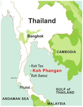 Koh Phangan Thailand Map.Map Of Koh Phangan Thong Nai Pan