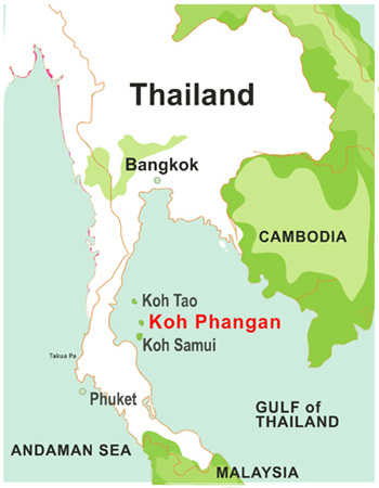 The tropical island of Koh Phangan is in the Gulf of Thailand
