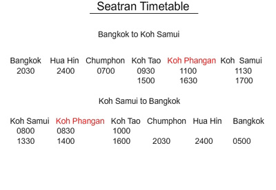 Seatran Boat and Bus timetable