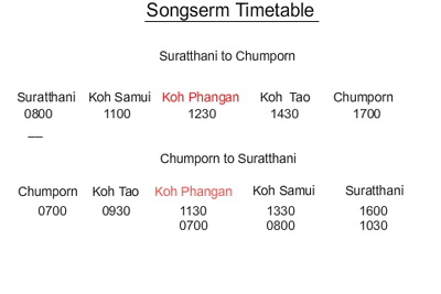 Songserm Boat and Bus timetable