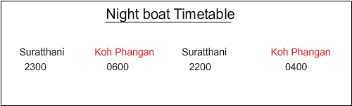 Night boat Timetable