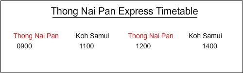Thong Nai Pan Express Timetable
